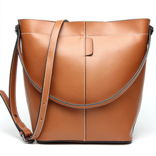 New Leather Shopping Bucket Bag Vintage Genuine Leather Totes Women Bag Fashion Cow Leather Women Messenger Bags