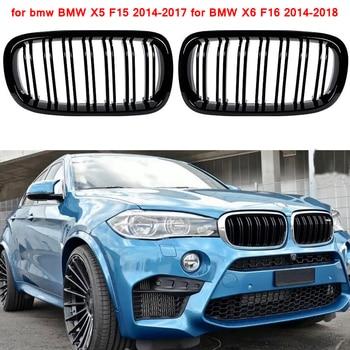 Para BMW F15 línea de rejilla de repuesto frontal Parrilla de riñón brillante Negro para BMW X6 F16 2014-2018