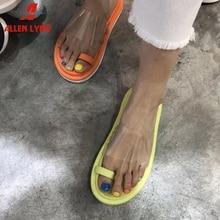 ALLENLYNN New INS Hot Bright Colors Flat flip-flops Women 2019 Summer Fashion Transparent PVC Shoes Woman Slippers