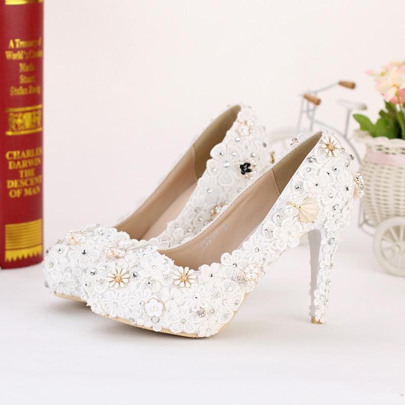 ФОТО New Aesthetic white lace flower bride wedding shoes thin heels bridal shoes rhinestone handmade shoes platform wedding gift