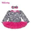 Baby girl fashion dress zebra printed vestido infantil cordón de la ropa muchachas de la manga completa ruffle tutu dress alta calidad rd102la