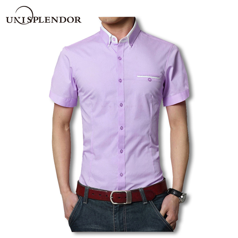 2019 Summer Solid Short Sleeve Men Dress Shirts Brand Working Man Casual Shirt Plus Size S-5XL Couple Outfit Male Party YN10315