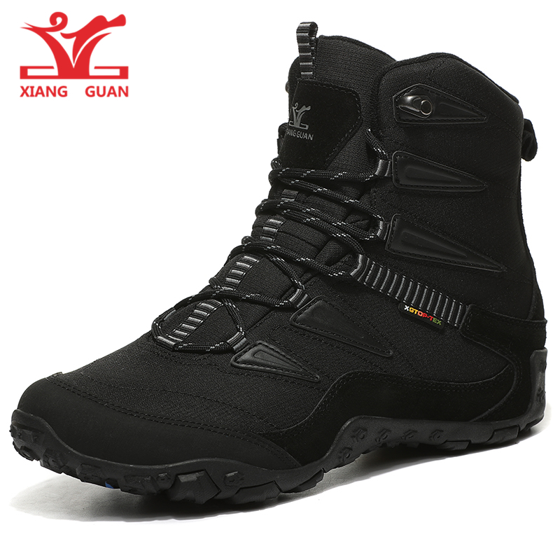 Nouvelle arrivée XIANG GUAN haute top amant NEIGE BOTTES noir et blanc trekking chaussures marque dentelle-up hommes en plein air escalade sneakers