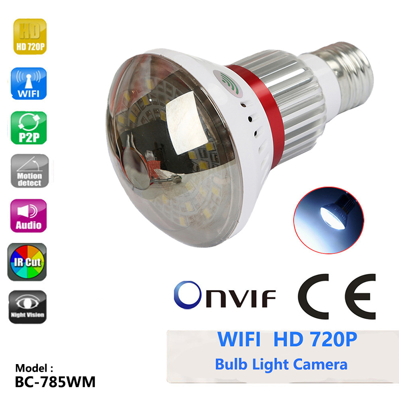 BC 785WM Bulb Lamp IP Wifi Camera Micro SD CCTV Surveillance Camera 433Hz Alarm Sensor Intergration Hi3518E P2P Support ONVIF