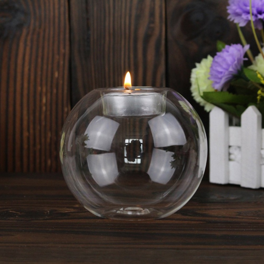 Rounded Hollow Glass Candle Holder 12