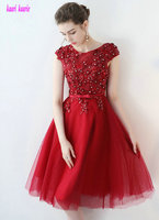 Brillia Red Lace Cocktail Dresses New Sexy Scoop Tulle Appliques Lace Up Knee Lingth Casual Dress