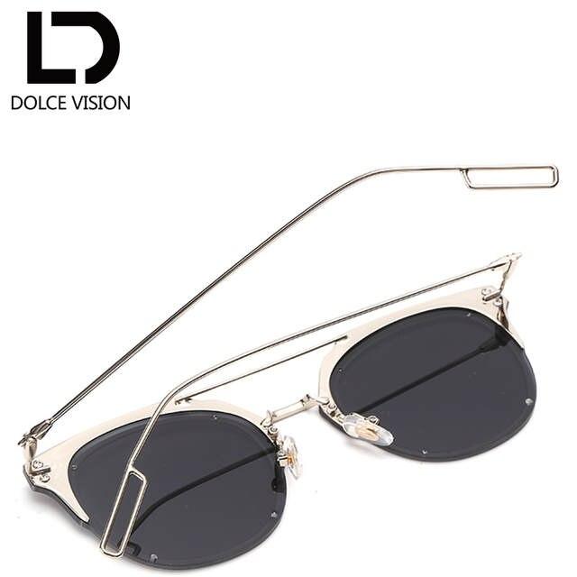 8f7b3727f6 DOLCE VISION Silver Mirror Sunglasses Men Luxury Brand Designer Oculos Male  2018 Metal Pilot Style Sun