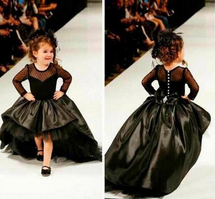 2018 Black Long Sleeves Ball Gown   Flower     Girl     Dresses   Pearls Kids Evening Gowns For Weddings Little Bride   Dress   Bow M2068
