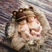 Designer Hand Made Cute Animal Cotton Knitted Beanies Hats Newborn Photography Props Cap Fotografia Accesorios
