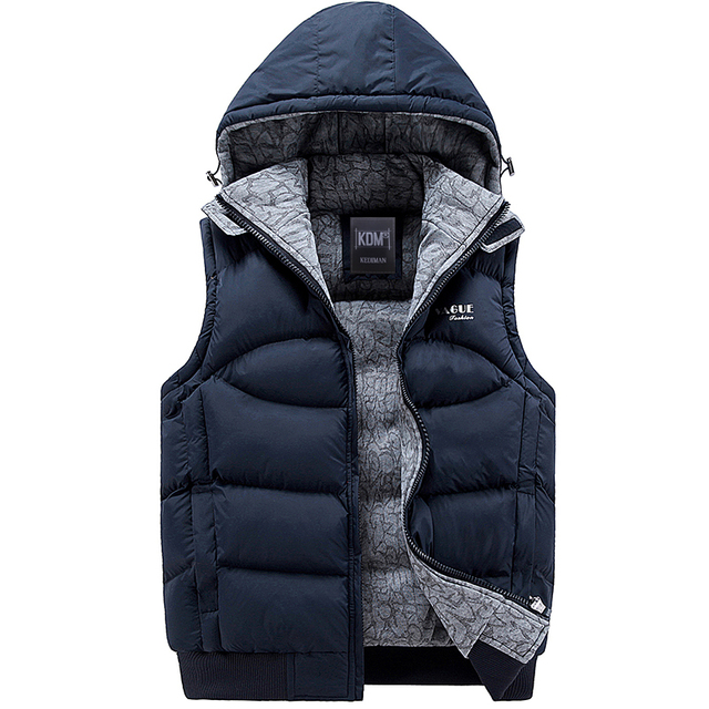 2016 more Thick High Quality Autumn Winter Fashion Hood Vest Men Solid Casual Slim Mens Vest Warm Lovers Waistcoat (Asian Size)