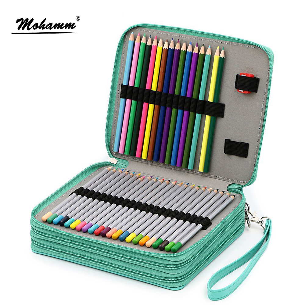 124 Holders Large Capacity Pencil Case for Art Pens Watercolor Colored PU Leather Pencils Bag Box School Stationery Supplies купить