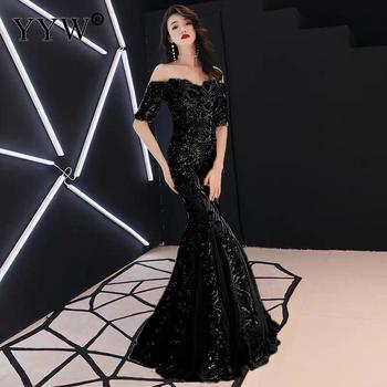 Green Leaf Sequined Off Shoulder Evening Dresses Luxury Sexy Robe De Soiree Long Mermaid Party Dress Elegant Cocktail Clubwear 4