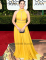 Sexy High Neck Yellow America Ferrera Red Carpet Celebrity Dress 2017 73rd Golden Globe Awards Chiffon Long Evening Gown Vestido