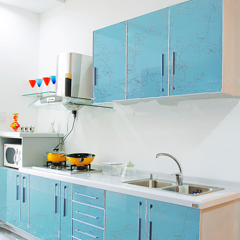 ⊱yazi Gloss Blue Flower PVC Waterproof Wall Sticker Kitchen ...
