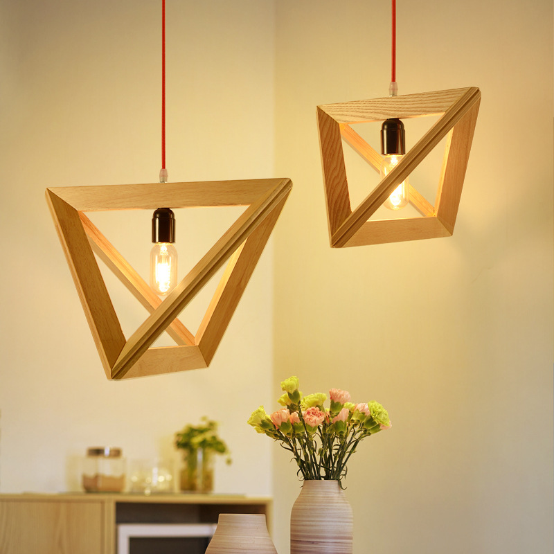 Nordic Geometric Lamps Solid Wood Japanese Restaurant Milk Shop Bar Solid Wood Pendant Lights WF4121429