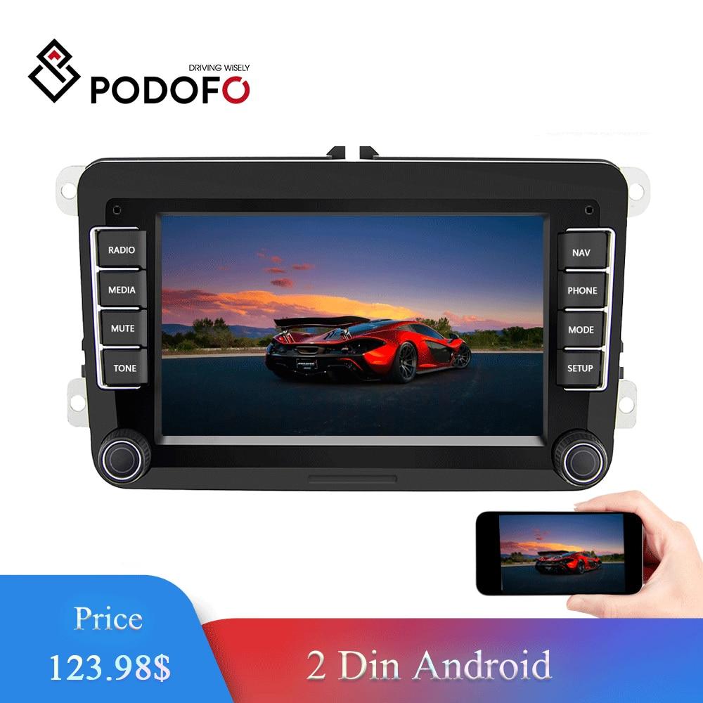 Podofo 7 Android Car Multimedia player 2 Din WIFI GPS Navigation Autoradio For Skoda VW Passat