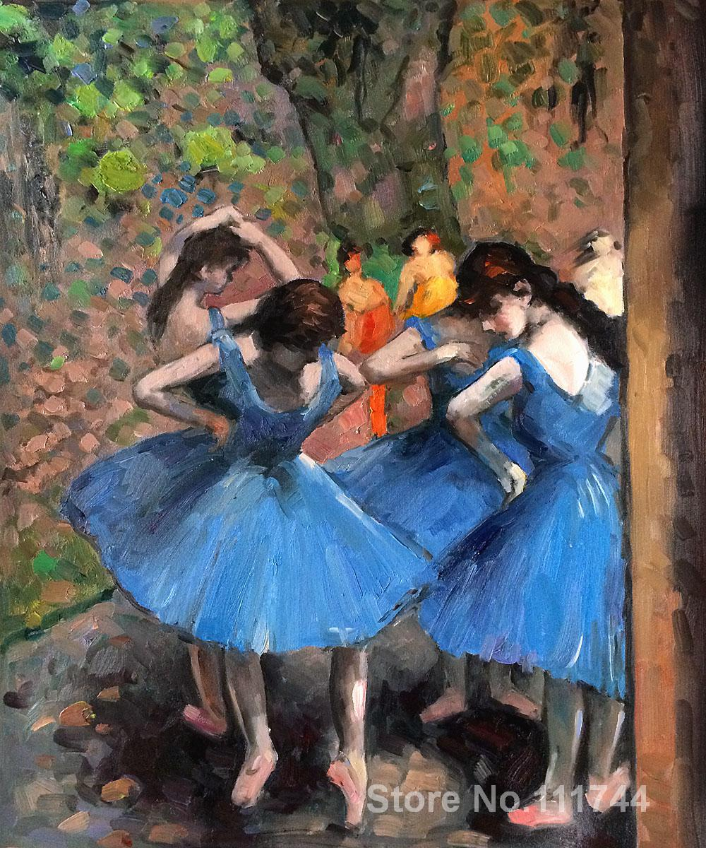 Romantic paintings dancers Dancers in Blue Edgar Degas canvas art High quality hand painted