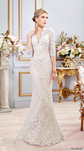Vestido De Noiva V-neck Elegant Three Quarter Lace Keyhole Back Mermaid Wedding Dress Detachable Train NM 554