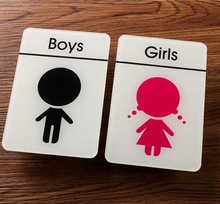 2pcs/set 10x15cm. Men and women Restroom kindergarten house acrylic sign Toilet sign(glue in back)