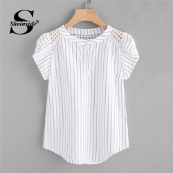 Sheinside Eyelet Embroidered Panel Petal Sleeve Pinstriped Blouse 2018 Summer White Round Neck Cap Sleeve Striped Casual Tops