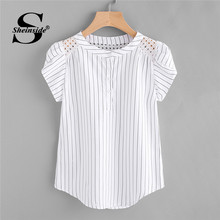 f01664d77e Sheinside Eyelet Embroidered Panel Petal Sleeve Pinstriped Blouse 2018  Summer White Round Neck Cap Sleeve Striped Casual Tops