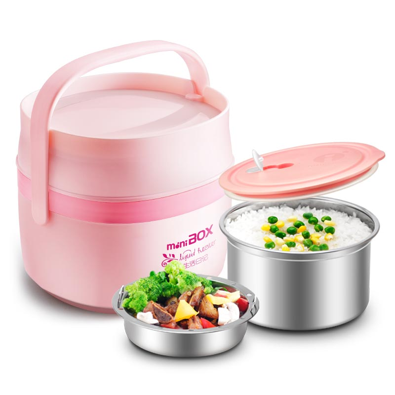 304 Stainless Steel Electric Lunch Boxes Multifunctional Insulation Plug-in Heating Lunch Boxes Double Layer Cooking Container electric lunch boxes double layer insulation heating cooking stainless steel lunch box mini pluggable heating rice cooker