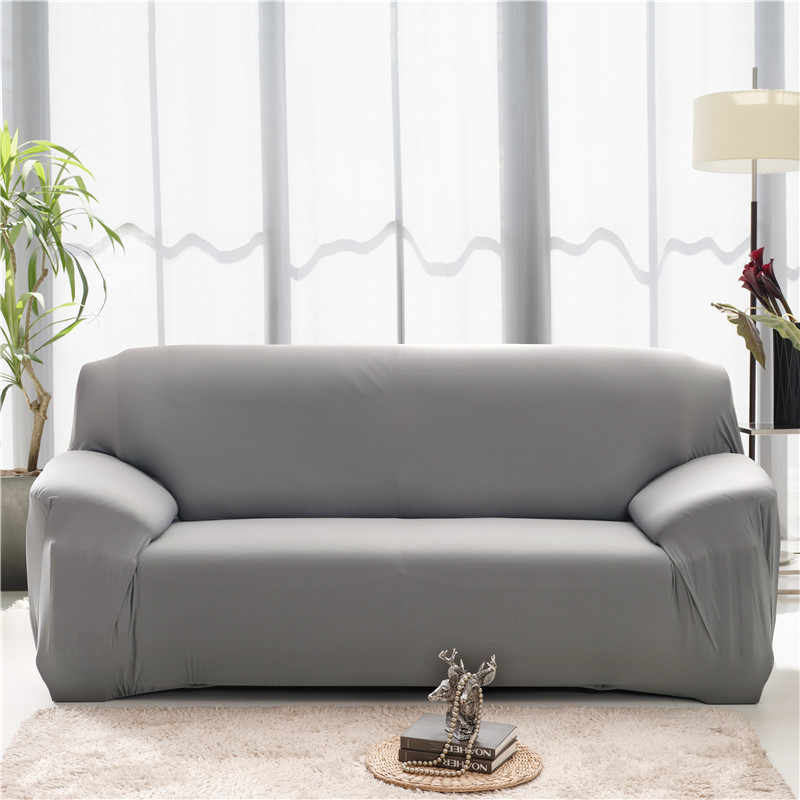 Solid Color Elastic Sofa COVER สำหรับห้องนั่งเล่น Universal Sectional Couch ครอบคลุม Spandex ยืดโซฟา 1/2/ 3/4 ที่นั่ง