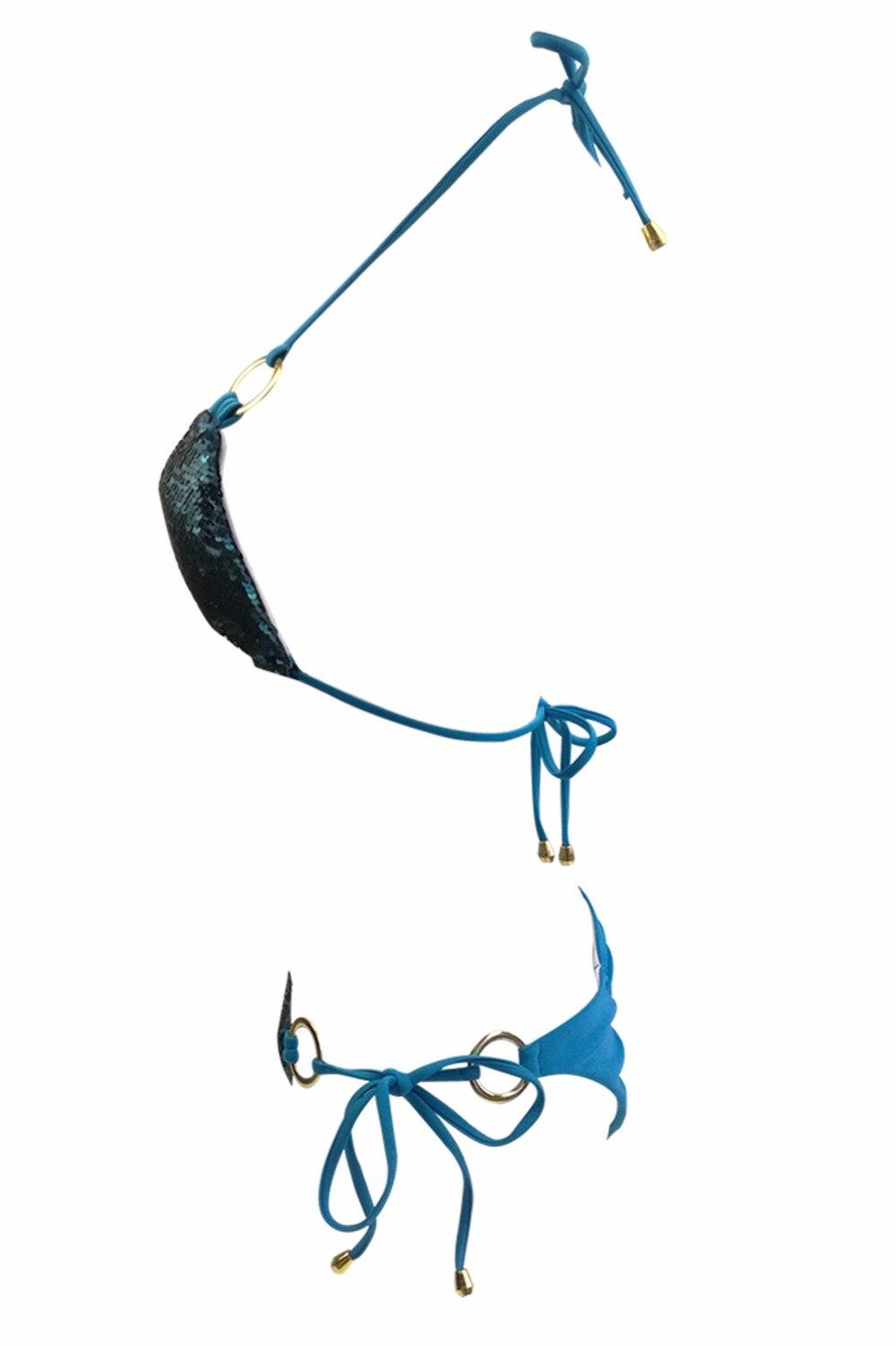 HTB1LCtNb8mWBuNkSndVq6AsApXa6 2019 Hot Sell Bikini Set Women Sexy Low Waist Bathing Suit Simple Sequins Beach Brazilian Swimsuit Halter Bandage Swimwear