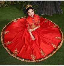 Evening dress bride married  show clothing red chinese style wedding formal dress three quarter and  Full sleeve robe de mariee