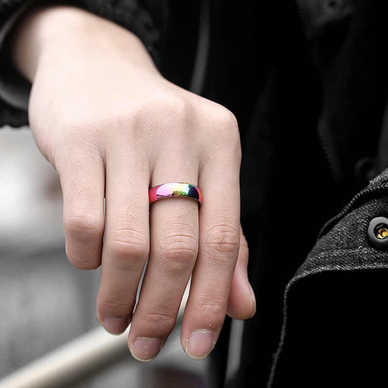 Rainbow Color Men's Ring Polished Stainless Steel Wedding Band Ring Male Woman Wholesale Jewelry Valentines Gifts 6mm KR167