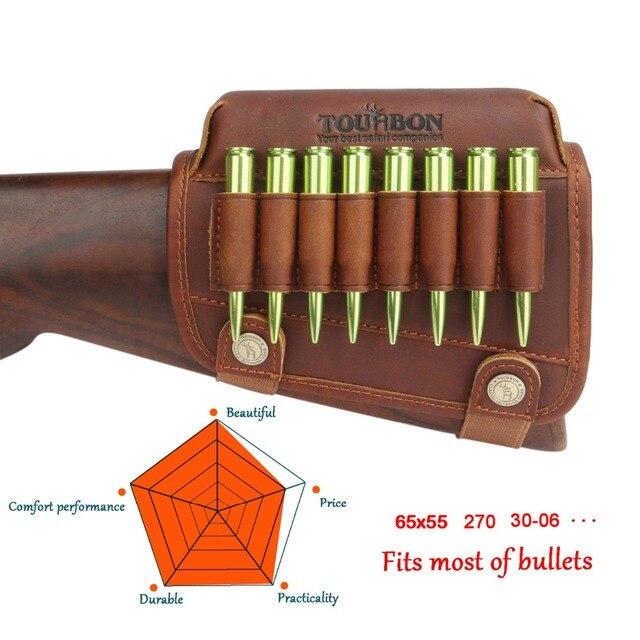 Tourbon Hunting Rifle Gun Cheek Rest Riser Pad Buttstock Left Hand Genuine Leather W/Ammo Cartridges Holder Shooting Accessories 6