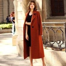 201a2660262 Solid Elegant Women Cashmere s Coat Jacket Maxi Long 2018 New Spring  European Women Wool Coat Warm Winter Female Outfits G126