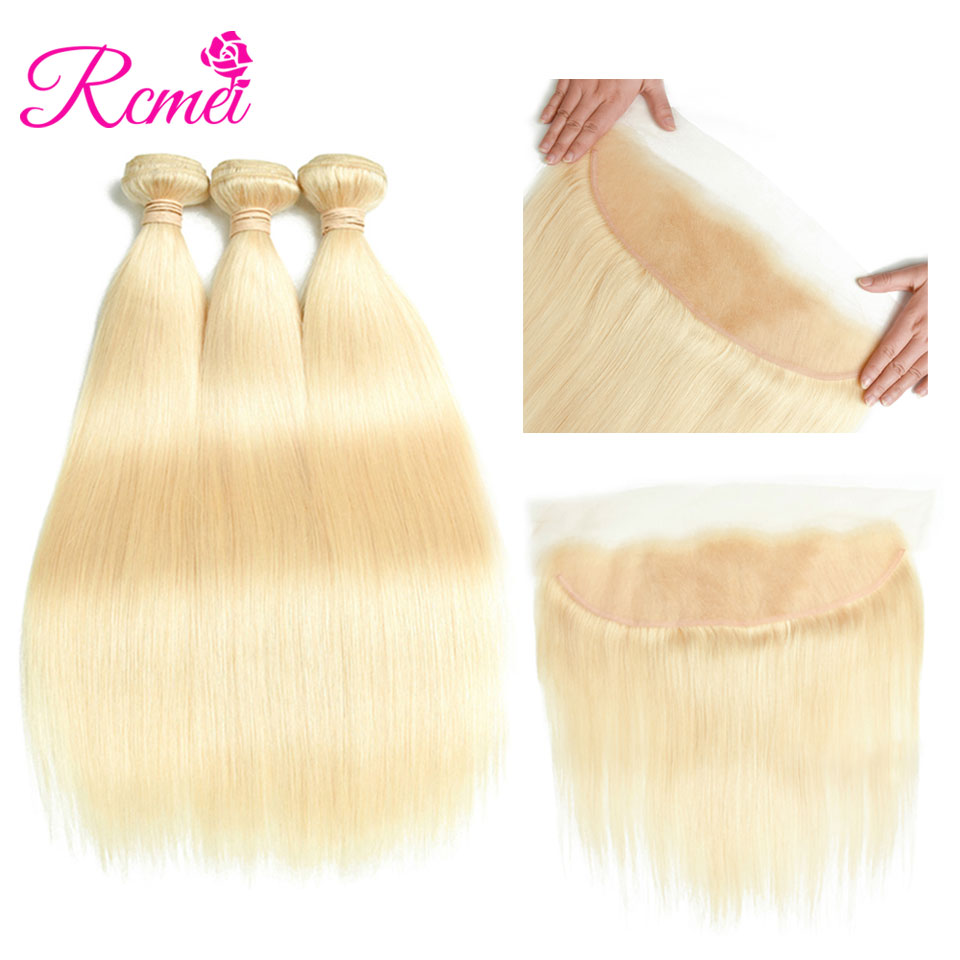 613 Blonde Bundles With Frontal Closure Brazilian Straight Hair Blonde Bundle Hair 4PCS Deal 8-30 Inch Long Length Hair Weaving