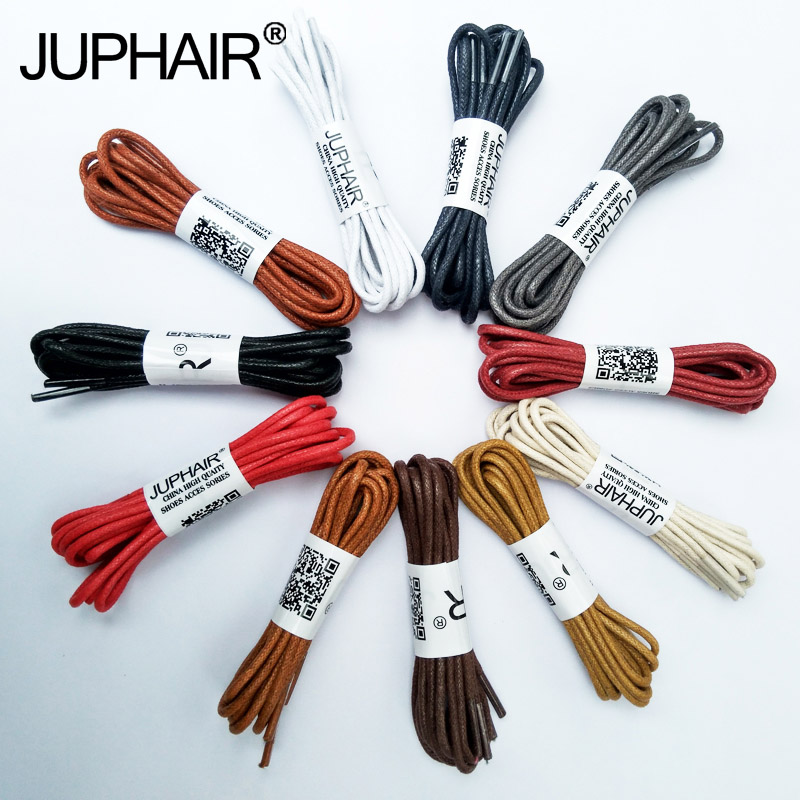 JUP 1 Pair 60-180cm Fashion Casual Leather Laces High Quality Waxed Round Shoelaces Shoestring Boots Sports Shoes Cable Ropes