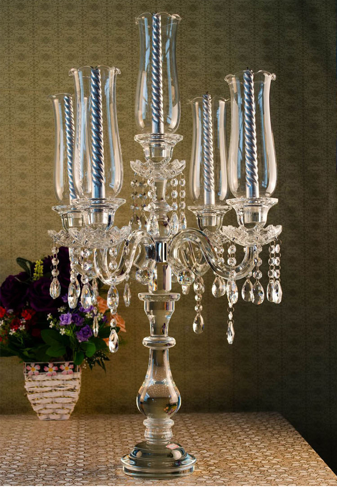 High End European 5 Holes Crystal Candlestick Wedding Decoration Vintage Candelabra Glass In Candle Holders From Home Garden