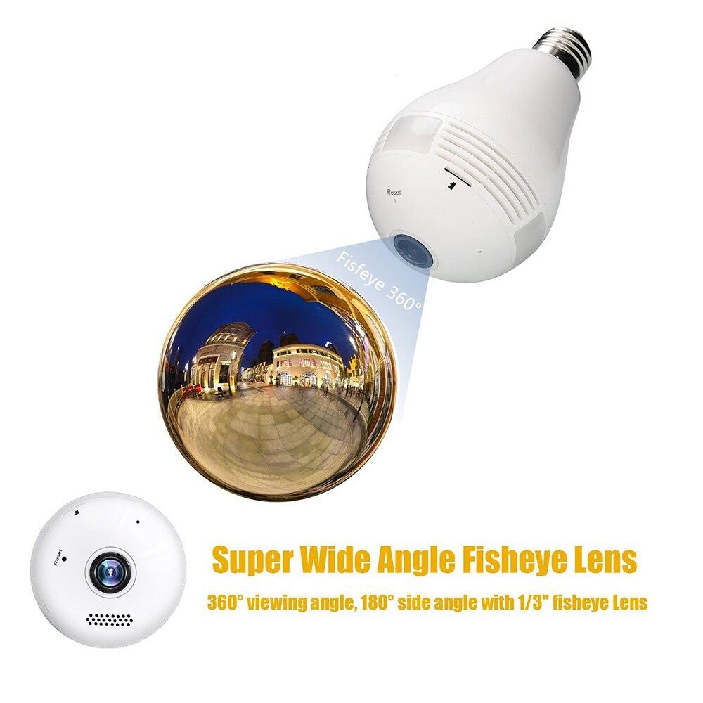 1.3MP 360 Degrés WIFI Caméra Sans Fil IP Caméra Wi-Fi Ampoule Lampe Fisheye Panoramique Surveillance Caméra de Sécurité de Détection de Mouvement