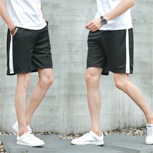 Mens Summer Simple 5 points Casual Shorts Teen Fashion Black White Stitching Sports Stripes Student Mid-rise Lace