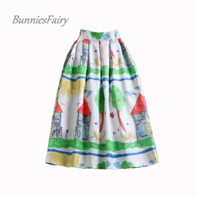BunniesFairy New Mori Country Style Hand Colorful Painting Cartoon Print Cute High Waist Midi Skirt Knee Length Saia Plissada