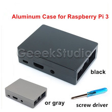Sale Metal aluminum enclosure Black/Gray Case for Raspberry Pi 3 Model B with heat sink stick