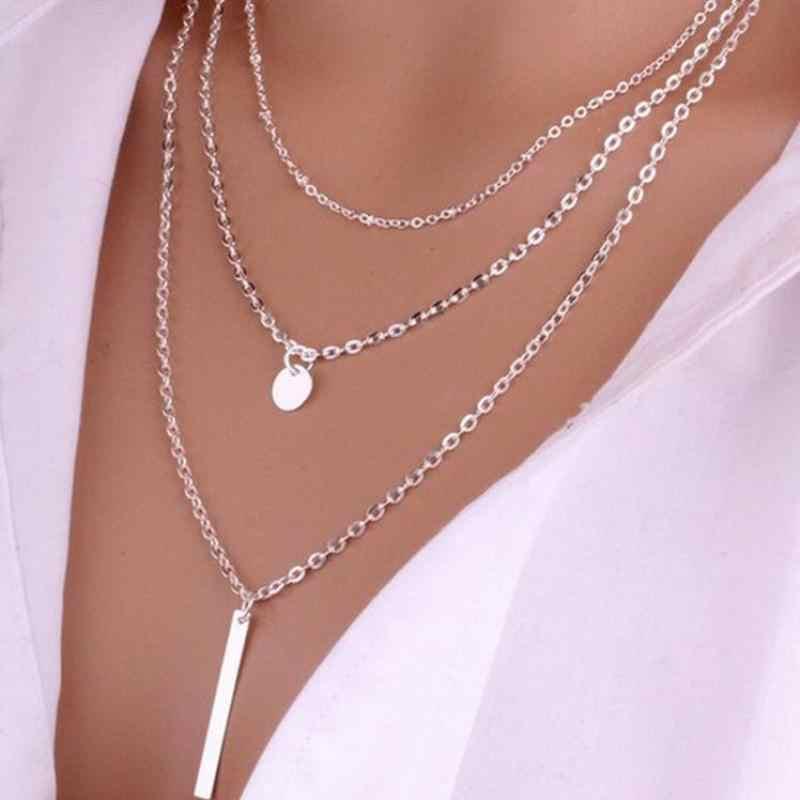 Thương Mại nước ngoài Đồ Trang Sức Nóng Mới Đồng Bead Chain Sequin Kim Loại Vòng Cổ Dải Đa-hai lớp Vòng Mảnh 1 Từ Vòng Cổ choker