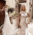 Vestido de noiva New Sexy Mermaid Wedding Dresses 2017 High Neck Cap Sleeve Court Train Lace Tulle Bridal Gowns Robe de mariage