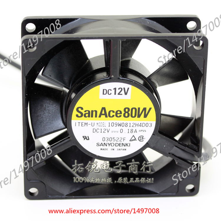 Sanyo 109W0812H4D03  DC 12V 0.18A  , 80x80x25mm Server Square fan