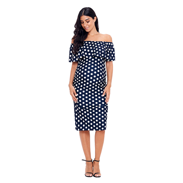 6279cef04a295 AVRIL -Navy Polka Dot , Ruffles Maternity Off Shoulder Fitted Dresses