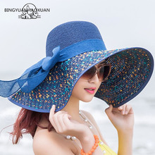 BINGYUANHAOXUAN Brand Large Brim Floppy Hat Sun Beach Women Foldable Summer UV Protect Travel Casual Female