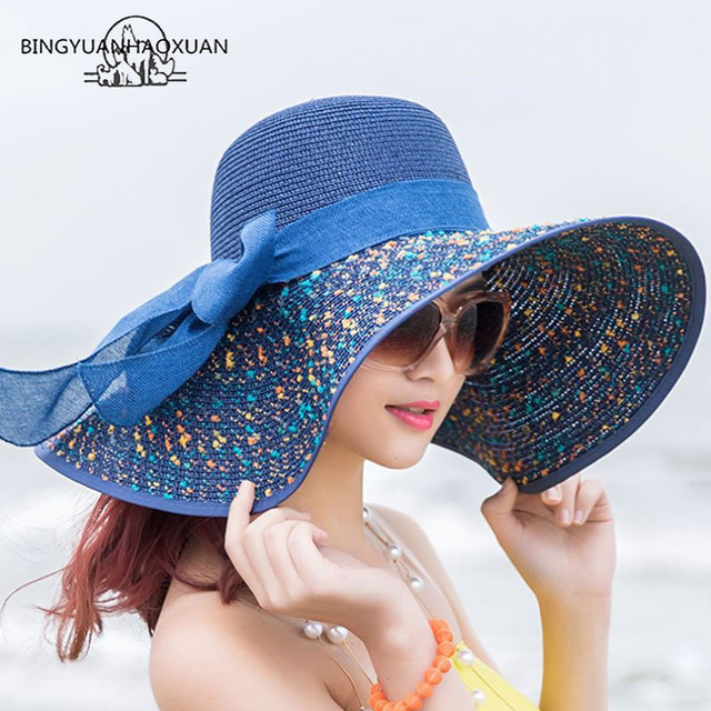 BINGYUANHAOXUAN Brand Large Brim Floppy Floppy Hat Sun Hat Beach Women Hat  Foldable Summer UV Protect Travel Casual Hat Female b7371933a38