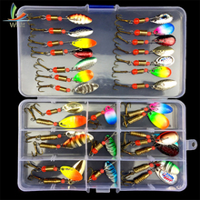 Купить с кэшбэком Metal Baits 10pcs/set 30pcs/set with box Rotation Sequins Spinners Spoon Bait Leurre Souple Fishing Wobblers Fishing Tackle
