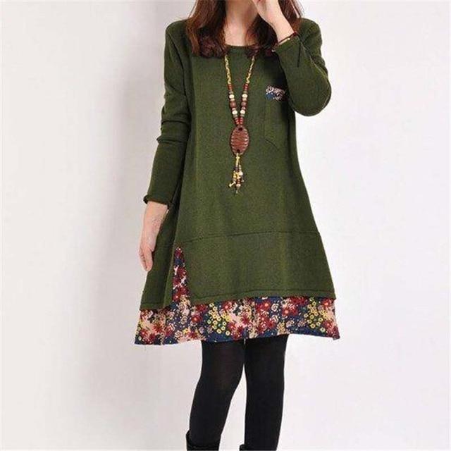 2020 New Autumn Women Long Sleeve Dresses Winter Casual Floral Patchwork Pocket O-neck Loose Mini Dress Plus 4XL Spring Vestidos 4