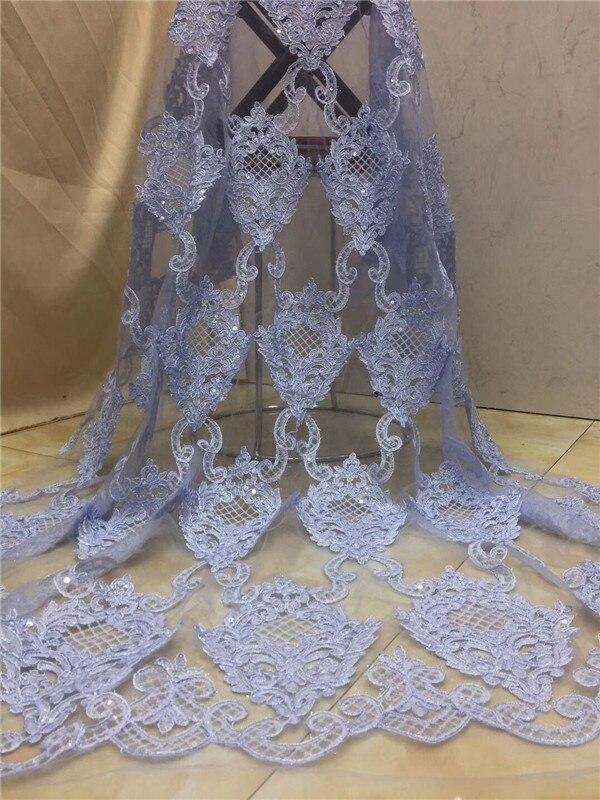 Ev ve Bahçe'ten Dantel'de Sıcak sequins fransız Altın çizgi dantel! yüksek kaliteli Afrika tül mesh dantel kumaş elbise, swiss vual net dantel 5y/lot beyaz şeftali'da  Grup 3