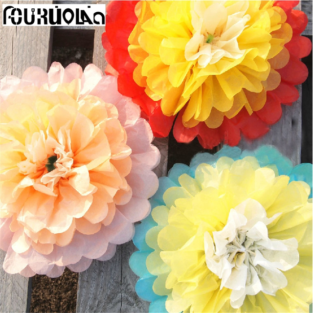 Us 4 5 5pcs 10 Giant Paper Flowers Hanging Artificial Fake Tissue Flower Ball Wall Decor Wedding Party Garden Birthday Pompom Roses In Artificial