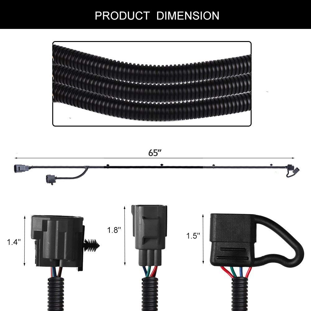 medium resolution of 65 inch railer wiring harness for jeep wrangler jk 2 4 door 2007 2018 tow hitch wiring harness accessories 4 way flat connector in rv parts accessories